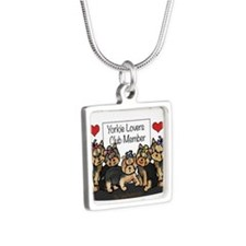 Yorkie Lovers Club Member Silver Square Necklace