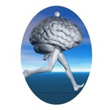 Running brain, conceptual artwork - Oval Ornament