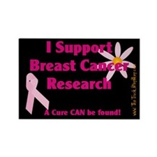 Pink Ribbon Flower Rectangle Magnet