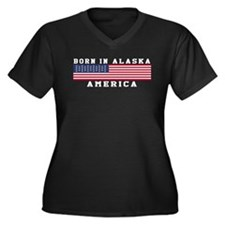 Born In Alaska Women's Plus Size V-Neck Dark T-Shi