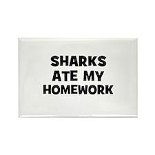 Sharks Ate My Homework Rectangle Magnet