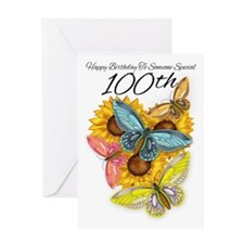 100th Birthday Greeting Cart With Sunflower And Bu