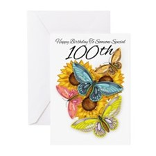 100th Birthday Greeting Cart Butterfly (Pk of 10)