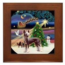 Cute Santa dog Framed Tile