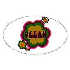 Retro vegan Oval Decal