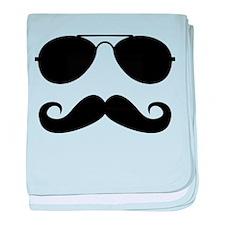 Macho Mustache baby blanket