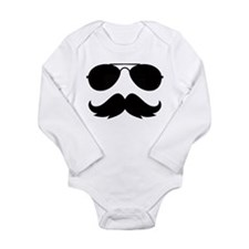 Macho Mustache Long Sleeve Infant Bodysuit