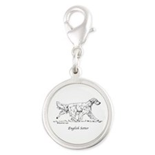 English Setter Silver Round Charm