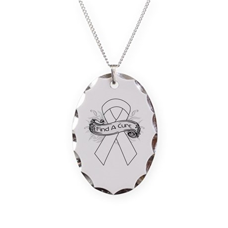 Lung Cancer Find A Cure Necklace Oval Charm