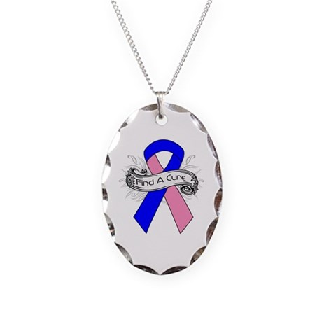 Male Breast Cancer Find A Cure Necklace Oval Charm