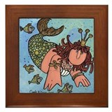 Cute Mermaid wall Framed Tile