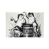 Beer Drinking Frogs Rectangle Magnet