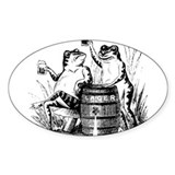Beer Drinking Frogs Oval Decal