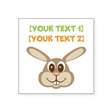 """PERSONALIZE Easter Bunny Square Sticker 3"""" x 3"""""""