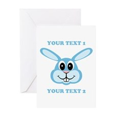 PERSONALIZE Blue Bunny Greeting Card