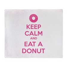 Keep calm and eat a donut Throw Blanket