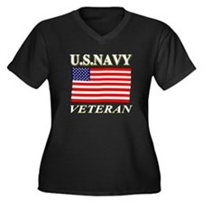 US N VETERAN Women's Plus Size V-Neck Dark T-Shirt