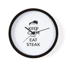 Keep calm and eat steak Wall Clock