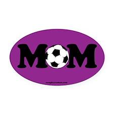 Oval Car Magnet-Purple Soccer Mom