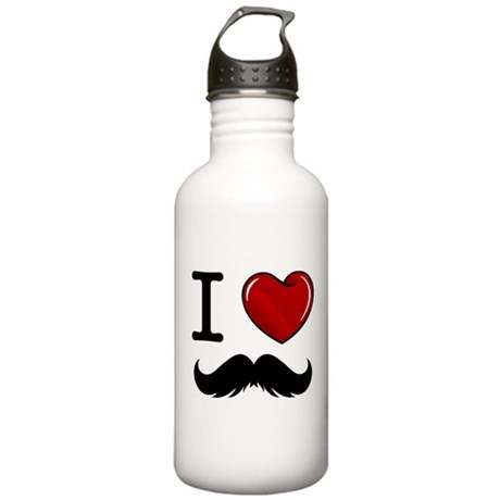 I Love Mustache Stainless Water Bottle 1.0L