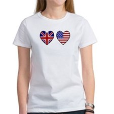 Union Jack / USA Heart Flags Tee