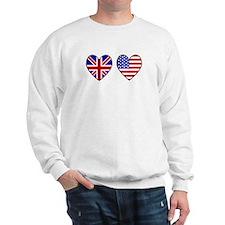 Union Jack / USA Heart Flags Sweatshirt