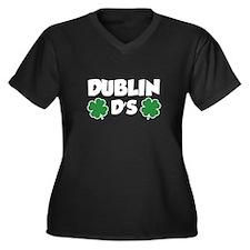 Dublin D's Women's Plus Size V-Neck Dark T-Shirt