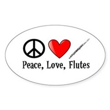 Peace, Love, Flutes Decal