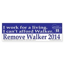I Cant Afford Walker Bumper Bumper Sticker