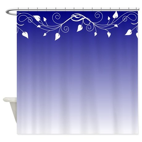 Blue And White Floral Design Shower Curtain By Stolenmomentsph