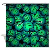 Green Hibiscus Flower Shower Curtain