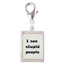 I Se Stupid People Silver Portrait Charm