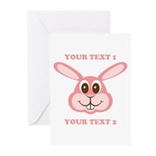 PERSONALIZE Pink Bunny Greeting Cards (Pk of 10)