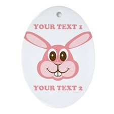 PERSONALIZE Pink Bunny Ornament (Oval)