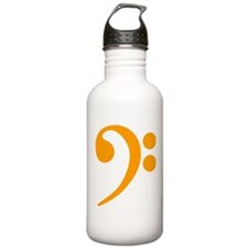 Orange Bass Clef Water Bottle