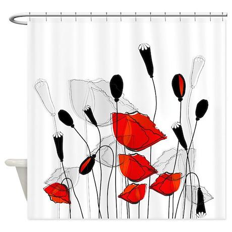 Beautiful Red Poppies Shower Curtain by BestShowerCurtains