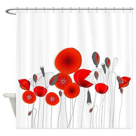 Elegant Red Flowers Shower Curtain By BestShowerCurtains