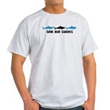 triple shark logo black blue.psd T-Shirt