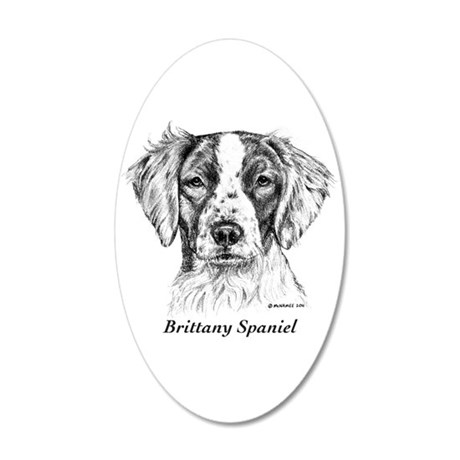 Brittany Spaniel 35x21 Oval Wall Decal