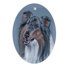 Collie Blue Merle Oval Ornament