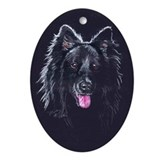 Belgian Sheepdog Black Oval Ornament