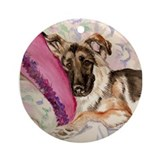 German Shepherd Waiting for Santa Ornament (Round)