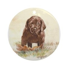 Chocolate Lab Puppy Ornament (Round)
