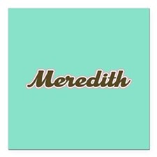 "Meredith Aqua Square Car Magnet 3"" x 3"""