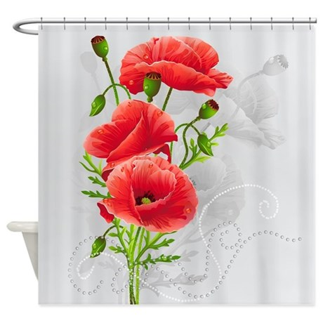 Artistic Red Poppies Shower Curtain by ShowerCurtainShop
