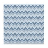 Chevrons Zigzag Ombre Blue Ocean Waves Pattern Til