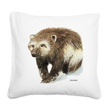 Wolverine Animal Square Canvas Pillow