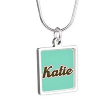 Katie Aqua Silver Square Necklace