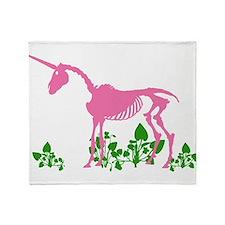 Pink Unicorn Skeleton Throw Blanket