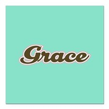 "Grace Aqua Square Car Magnet 3"" x 3"""